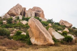 large boulders on hill